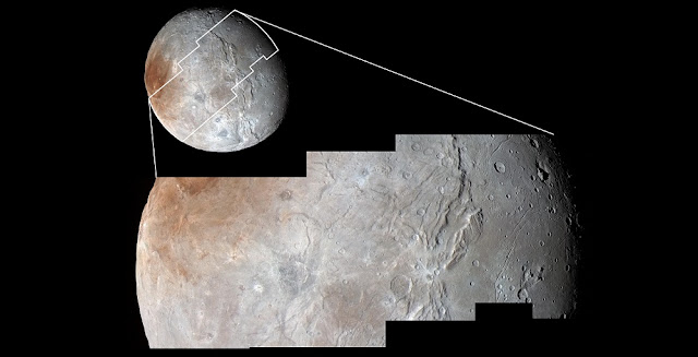 High-resolution images of Charon were taken by the Long Range Reconnaissance Imager (LORRI) on NASA's New Horizons spacecraft, shortly before closest approach on July 14, 2015, and overlaid with enhanced color from the Ralph/Multispectral Visual Imaging Camera (MVIC). Charon's cratered uplands at the top are broken by series of canyons, and replaced on the bottom by the rolling plains of the informally named Vulcan Planum. The scene covers Charon's width of 754 miles (1,214 kilometers) and resolves details as small as 0.5 miles (0.8 kilometers).   Credit: NASA/Johns Hopkins University Applied Physics Laboratory/Southwest Research Institute