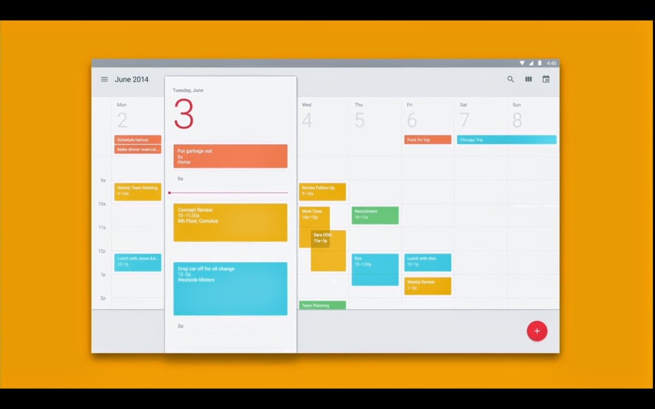 Calendar App Design : Material design is new visual look for android chrome and