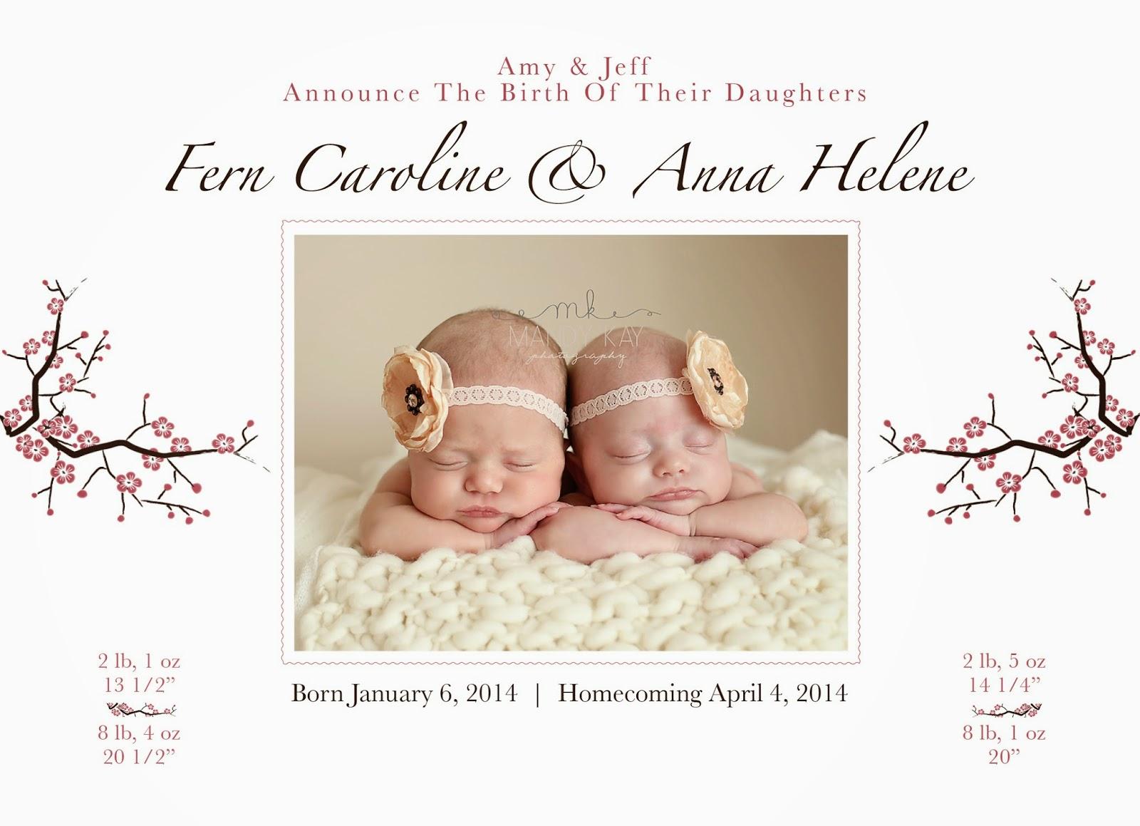 Preemie Prints Information Blog Baby Girl Preemie Birth Announcement – Birth Announcement Website