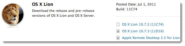OS X Lion 10.7.3 Build 11D16