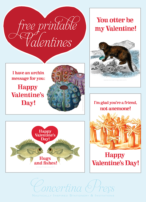 Free Printable Valentines - Funny nautical valentines from Concertina Press