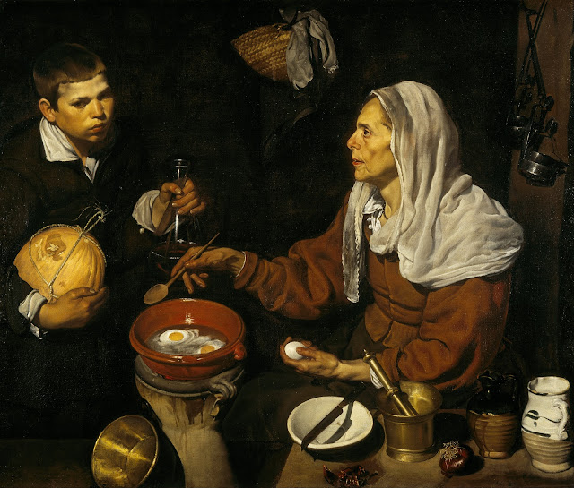 old woman with eggs cooking dinner, Diego Velazquez,art history