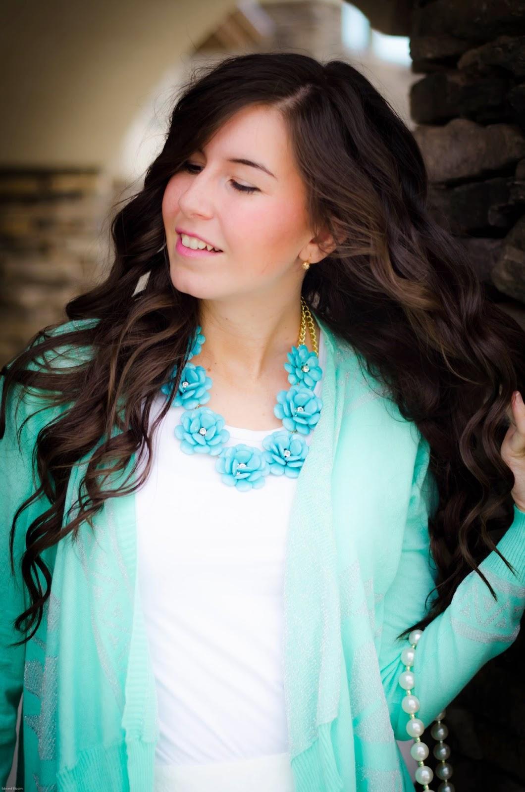 mint floral necklace, 7 piece flower necklace, mint necklace, mint necklace outfit, mint on mint, mint necklace with flowers, mint aztec cardigan, floral necklace,