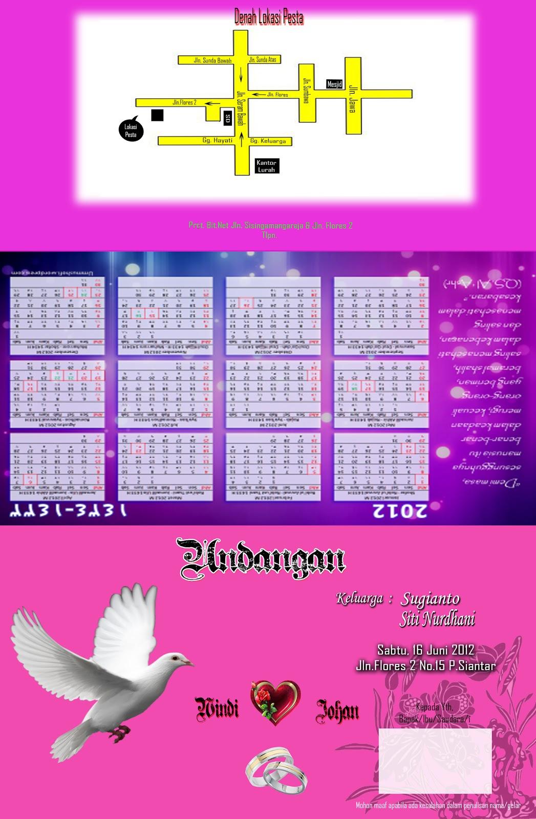 undangan kombinasi ungu dgn pink
