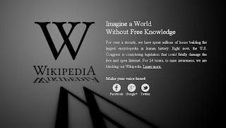 wikipedia down SOPA