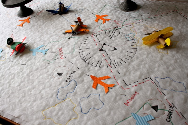 aeronautical map on table cloth