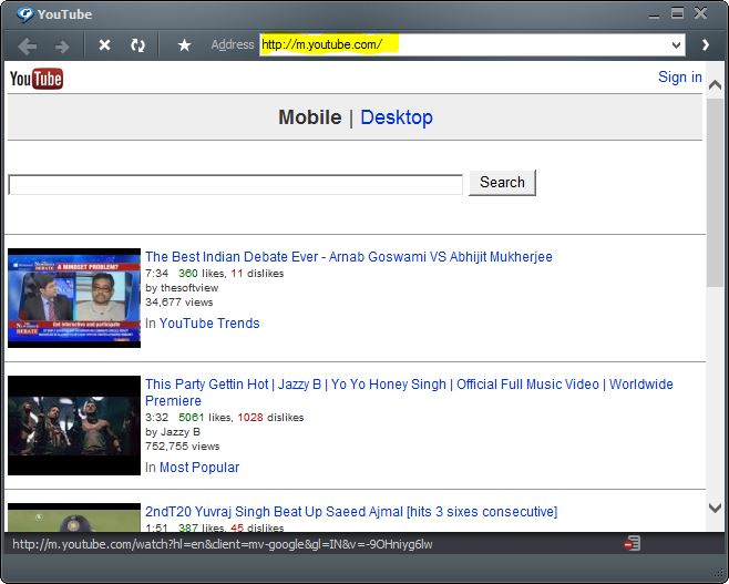 Shashi blog play youtube video at superfast speed on 2g then a media browser will be opened in that there will be a address bar in that type myoutube and press on go an example shown in the picture below ccuart Image collections