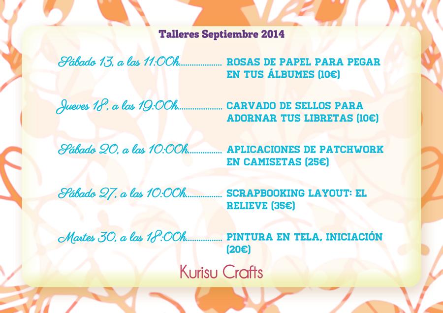 Horarios de los talleres Kurisu Crafts, septiembre 2014