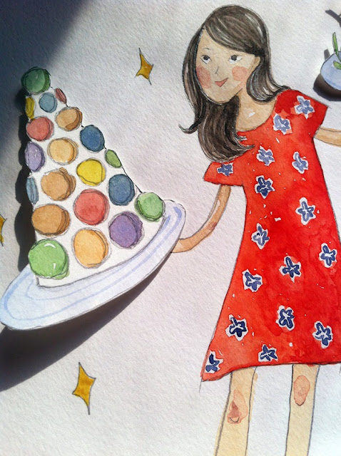 Hong Kong illustrator Kitty N. Wong gouache painting on food waste in HK for Tatler. Close up of collaged macaron tower.