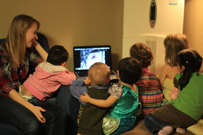 family watching a family movie