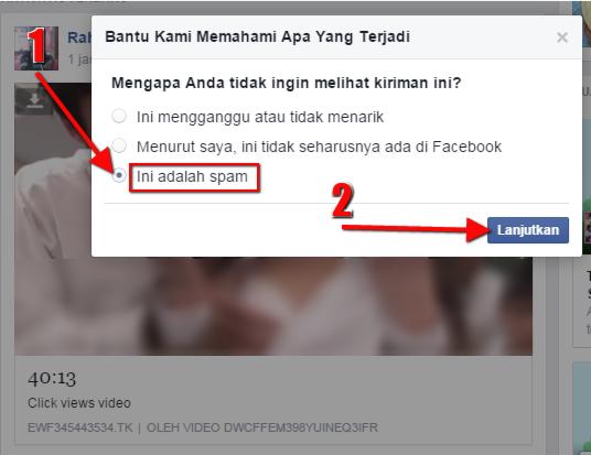 Cara Melaporkan SPAM Tautan Pornografi di Facebook - Step 2