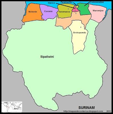Mapa de la organización política de SURINAM y nombre de los distritos