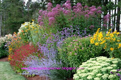 perennial garden design going directly across color wheel from a primary color you