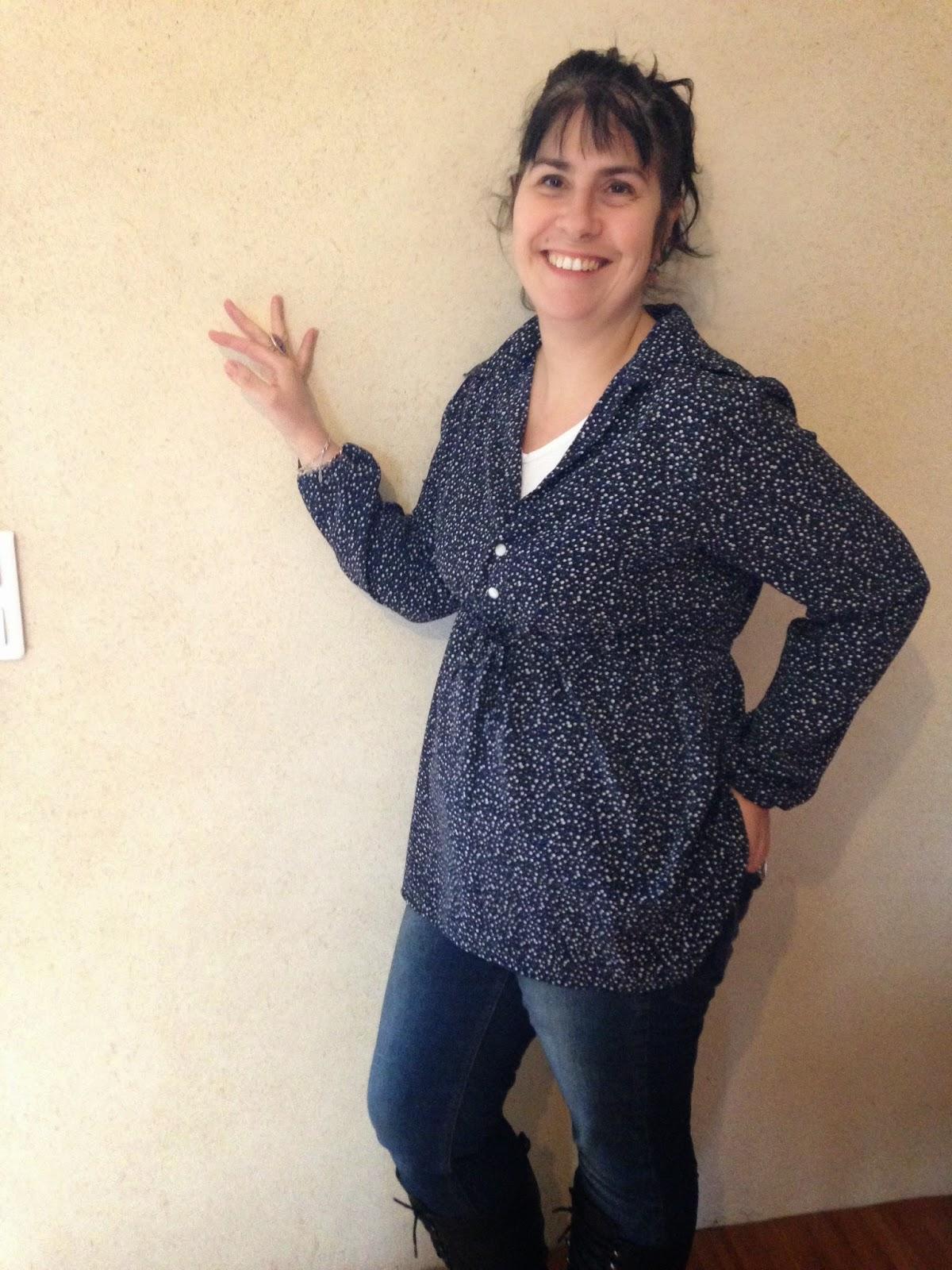 Tunique bleue femme taille empire