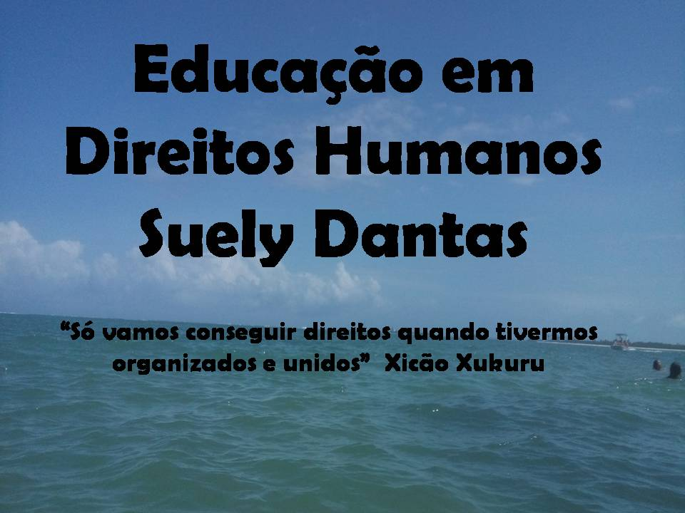 EDUCAÇÃO EM DIREITOS  HUMANOS - SUELY  DANTAS