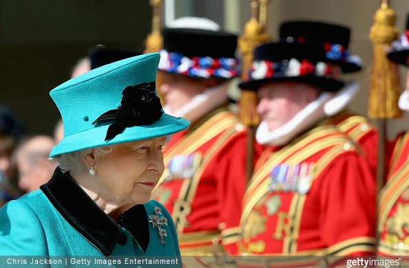 Queen Elizabeth II walks past Yeomen as she leaves Sheffield Cathedral after the traditional Royal Maundy Service at Sheffield Cathedral