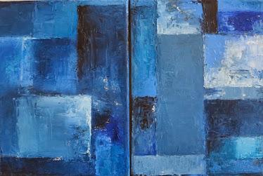 Díptico Azul, 2x(18x24)