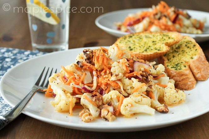 Cauliflower and Walnut Salad with a Lemon Poppy Seed Dressing.