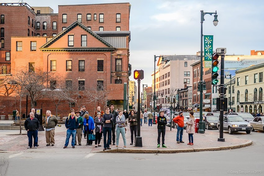 Portland, Maine April 2015 Pedestrians crossing High Street at Congress Square photo by Corey Templeton.