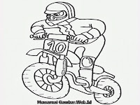 Gambar kartun balap motor cross untuk mewarnai