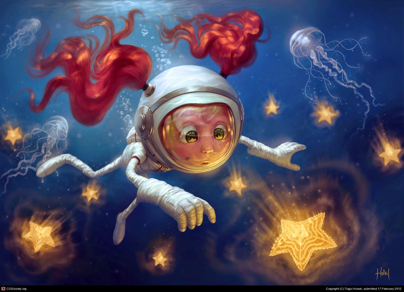 illustration de Tiago Hoisel représentant une jeune fille a couettes rousses pêchant des étoiles