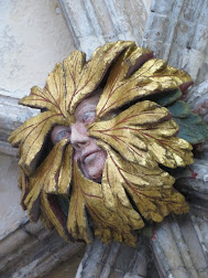 A green (well, gold) man from Norwich Cathedral. Isn't he splendid?