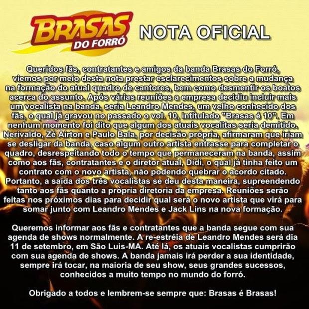 NOTA OFICILA DOS BRASAS DO FORRÓ