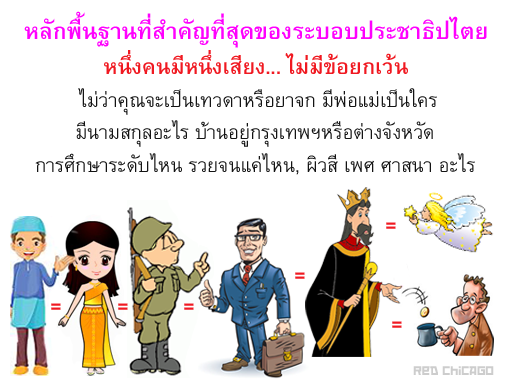 หลักพื้นฐานที่สำคัญที่สุดของระบอบประชาธิปไตย หนึ่งคนมีหนึ่งเสียง... ไม่มีข้อยกเว้น