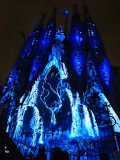 Sagrada Familia Basilica lit at night