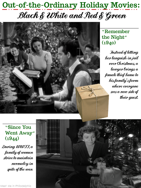 out of the ordinary holiday movies_black and white and red and green via Meet Me in Philadelphia