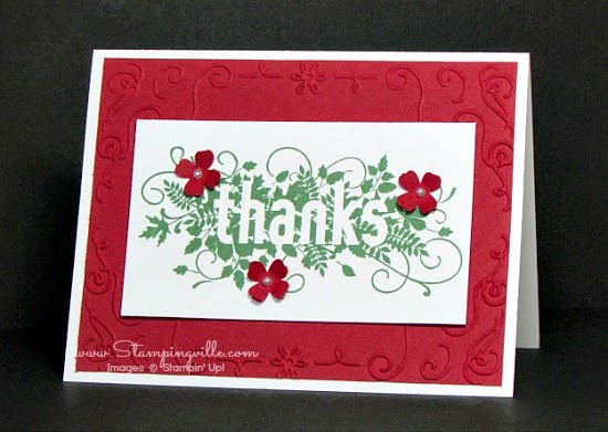 Seasonally Scattered thanks card in red and green | Stampingville #cardmaking #papercrafts #StampinUp