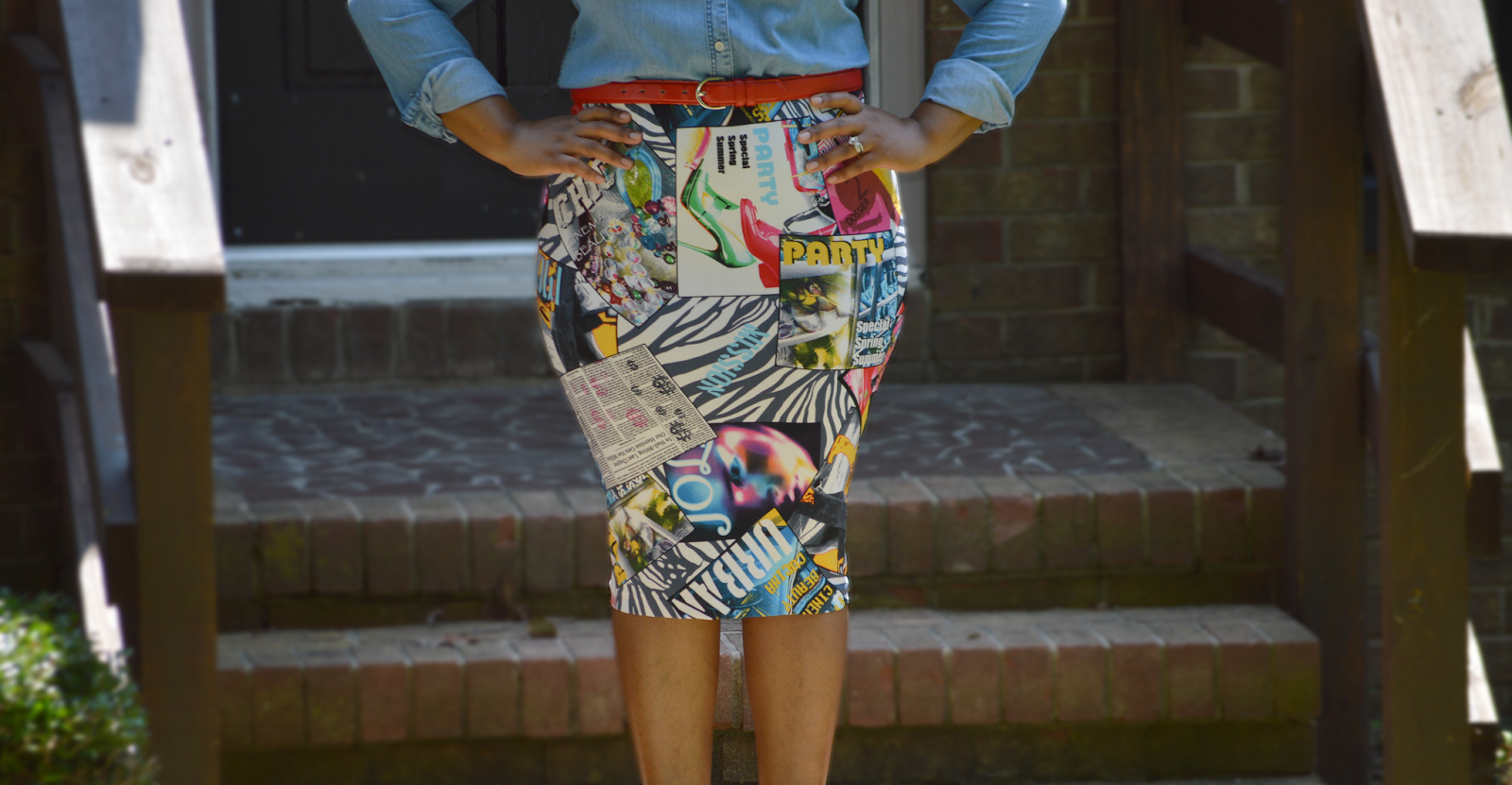 Rhianna's Studio DIY Graphic Pencil Skirt and Denim Shirt
