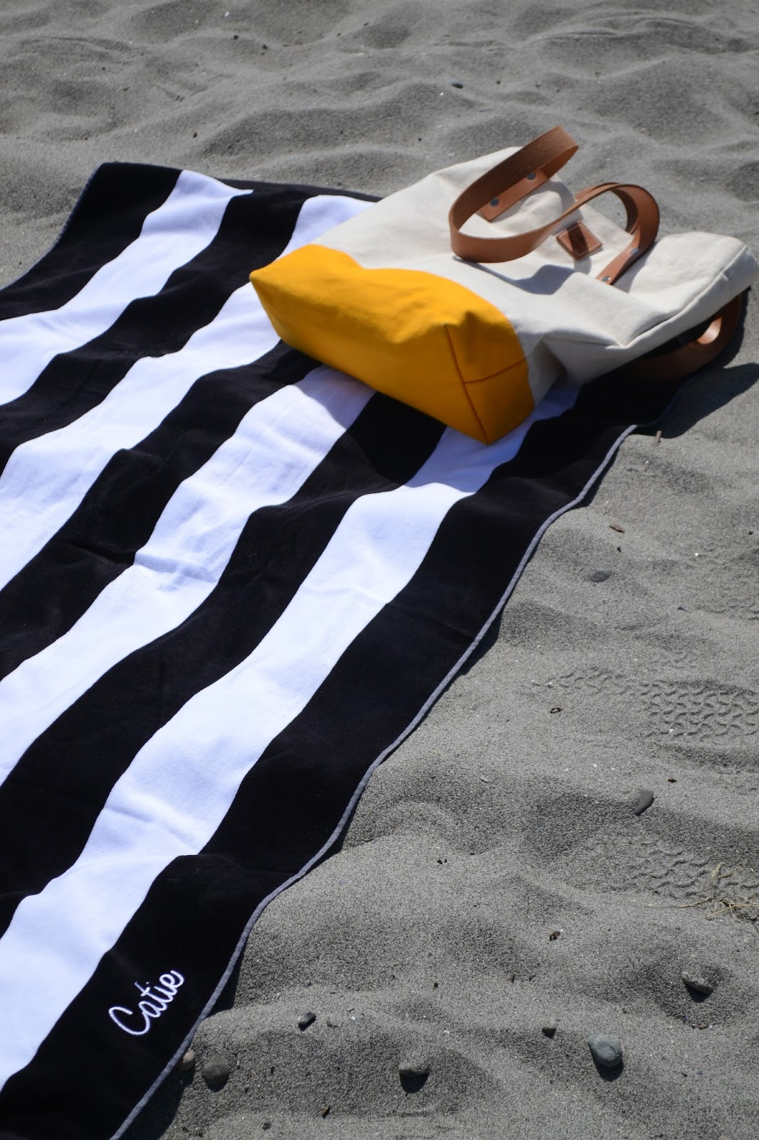9th & Elm, stripes, beach, towel, sand, Tarboo, tote bag
