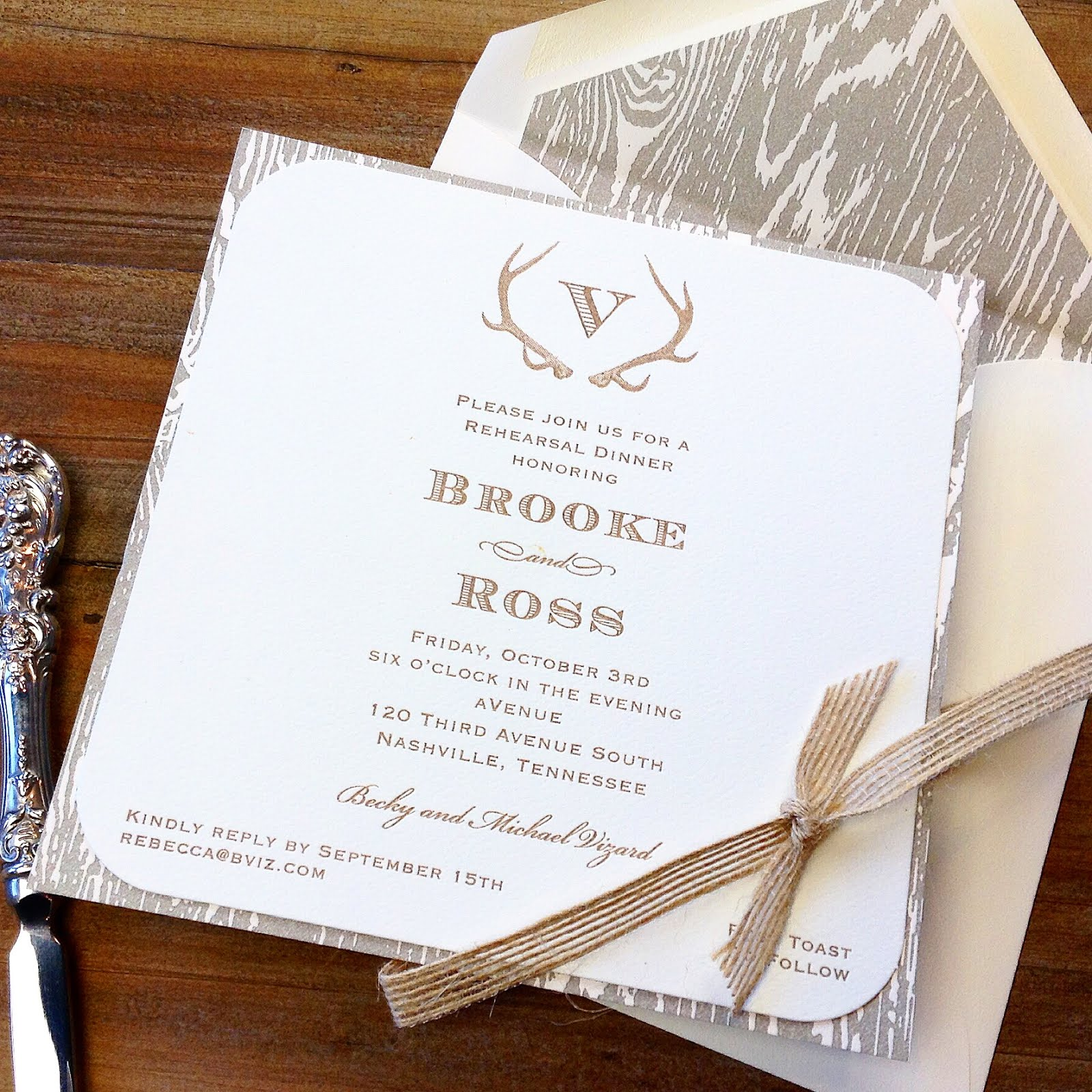 Brooke Kimbro and Ross Vizard Wedding Rehearsal Dinner Invitation ...