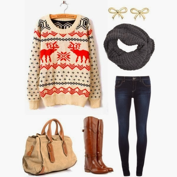 Deer Sweater,Bow Earrings, Riding Boots, Skinny Jeans , Scarf and Suitable Handbag