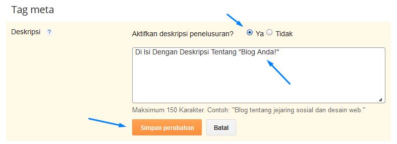 Mengaktifkan Deskripsi Penelusuran pada Postingan Blogger.