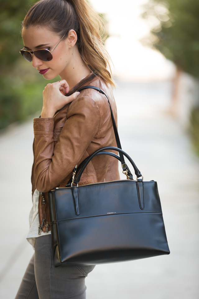 brown leather jacket with Coach Borough bag, M Loves M {click through for more photos and product info}