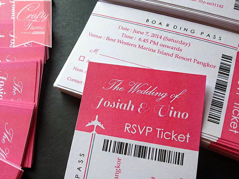 rsvp ticket with wedding card in malaysia