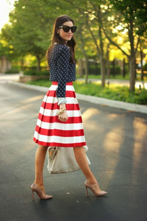 Nautical inspired outfit with nude shoes