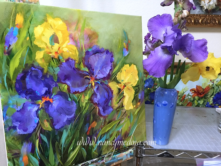 http://www.nancymedina.com/available-paintings/spring-rain-iris-garden