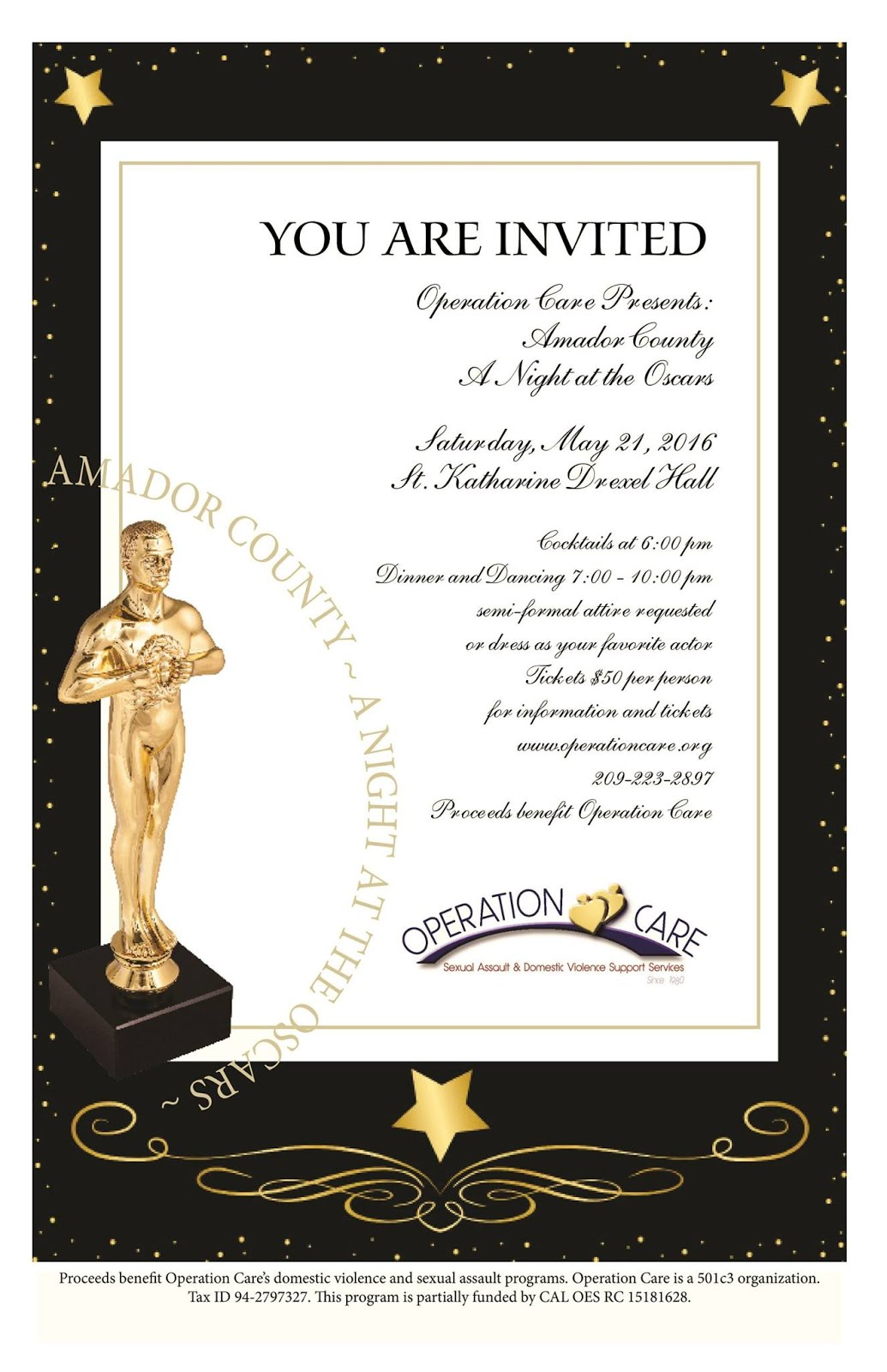"""Operation Care """"Night At The Oscars"""" - Sat May 21"""