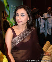 Actress Rani Mukharji in Brown transparent saree