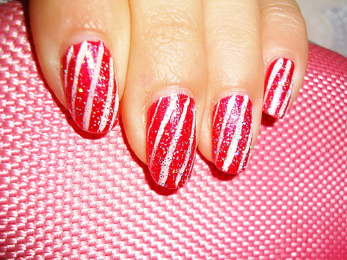 Nails, Christmas, Candy Cane, glitter