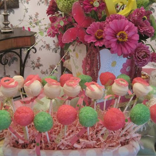 Pink and Green Baby Shower Cake Pops