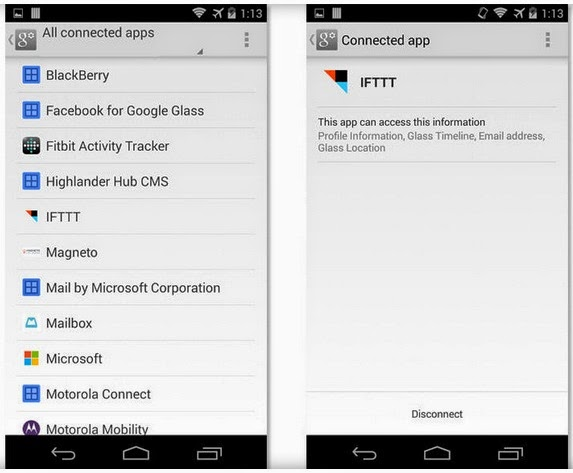 Edit Google account permissions via an Android device