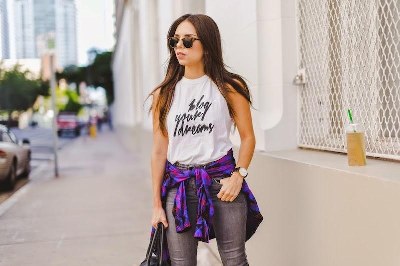 fashion, miami fashion, miami fashion blogger, fashion bloggers, daniela ramirez, nany's klozet, juiice detox, plaid shirt, grey jeans, leather jacket, blog your dreams