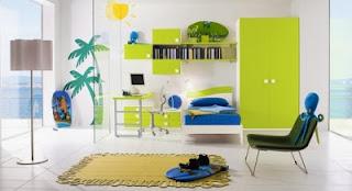 dormitorio juvenil en azul y verde