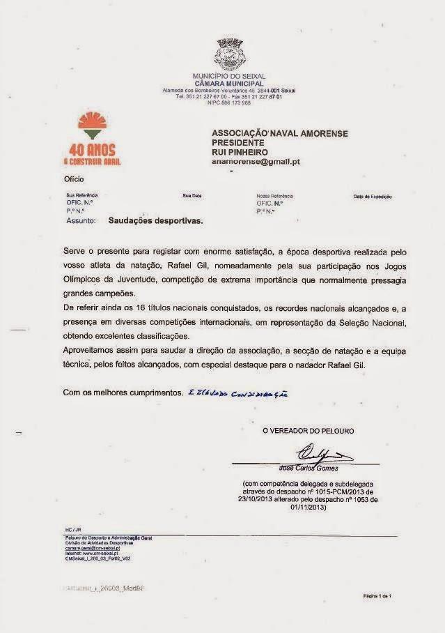 RECONHECIMENTO DA CAMARA MUNICIPAL SEIXAL PELOS FEITOS DESPORTIVOS