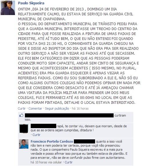 GCM Chapadinha: Denuncia Facebook