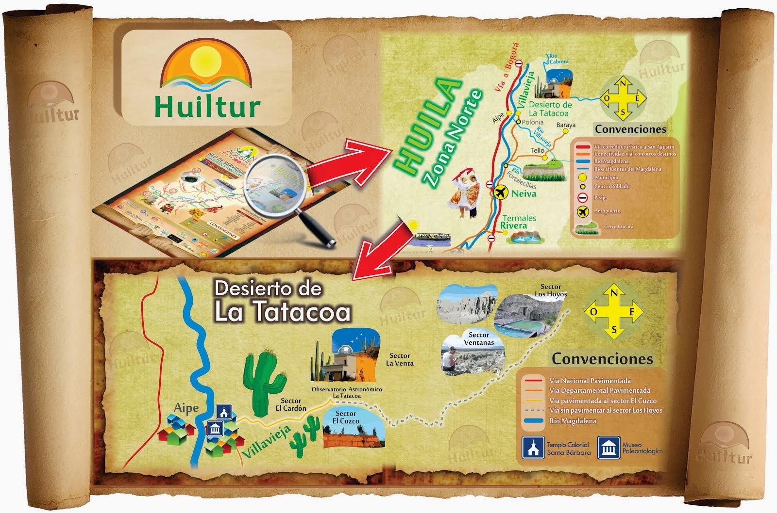 Mapa Desierto de La Tatacoa, Colombia